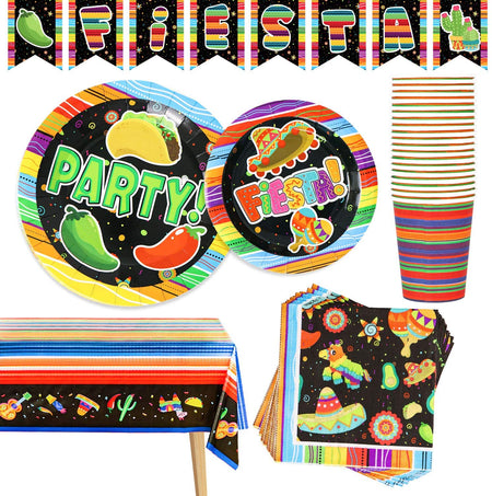 82 PCS Mexican Themed Black Universe Fiesta Party Supplies Set