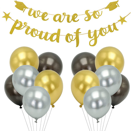 "Graduation Gold Glitter Banner ""We Are So Proud of You"" with 12 Pcs Latex Balloons and 4 Pcs Hanging Decorations"
