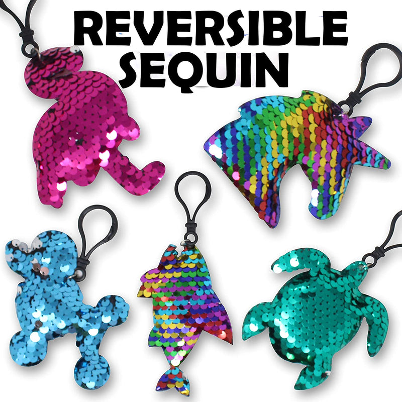24 PIECES DESIGN MULTICOLOR FLIP SEQUIN KEYCHAIN