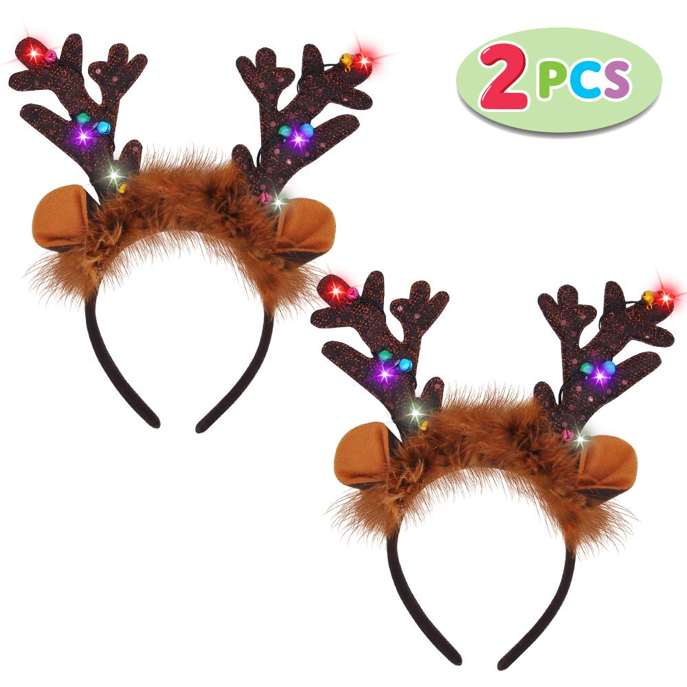 2 Piece Light-Up Reindeer Headbands