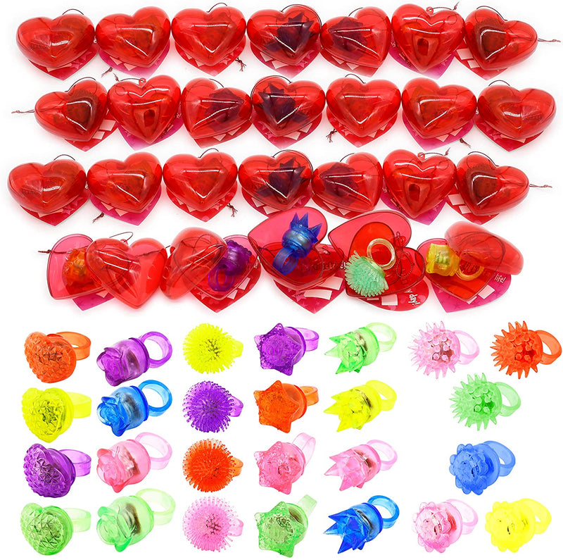 26 Packs Kids Valentines Party Favors Set includes 26 LED Jelly Light Up Rings Filled Hearts and Valentine's Day Cards