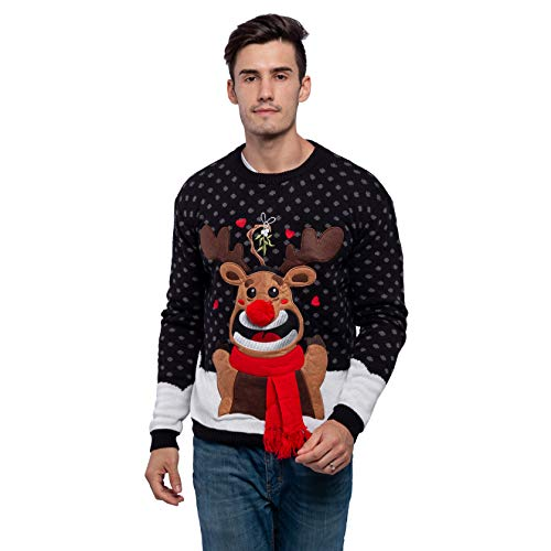 Men's Christmas Fuzzy Reindeer Ugly Sweater