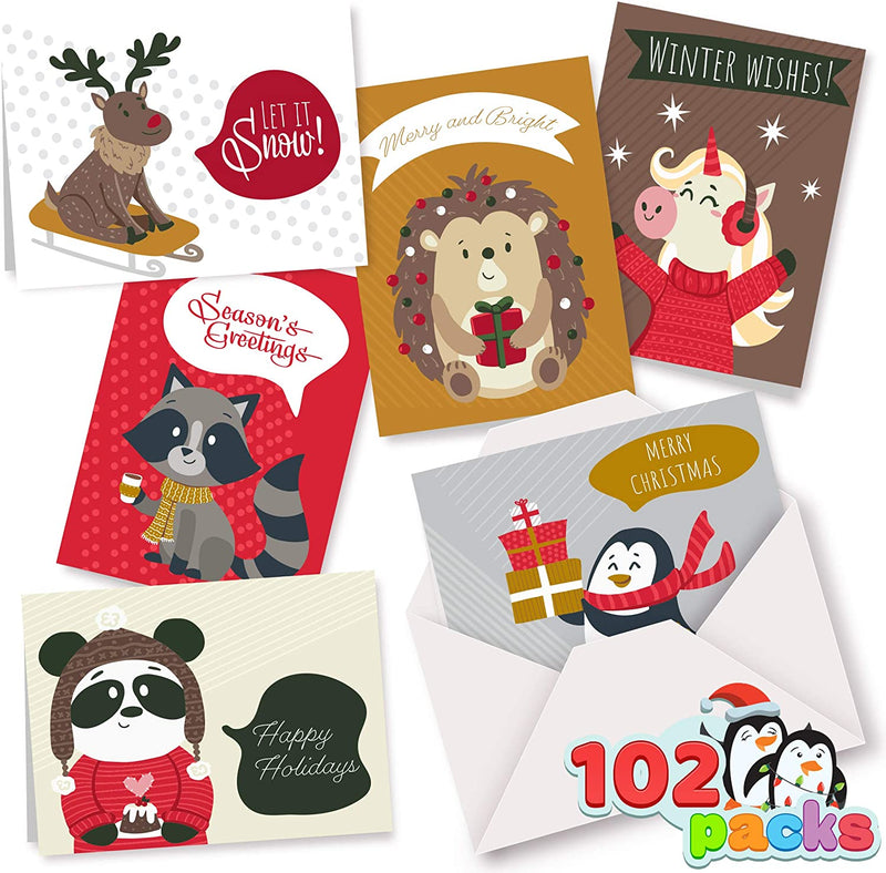 102 Christmas Greeting Cards Collection  with Envelopes
