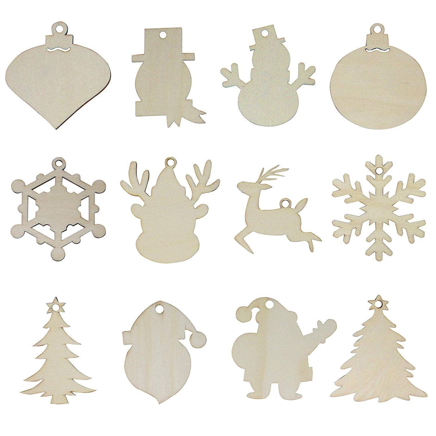 48 Piece Wooden Christmas Ornaments DIY Craft Kit