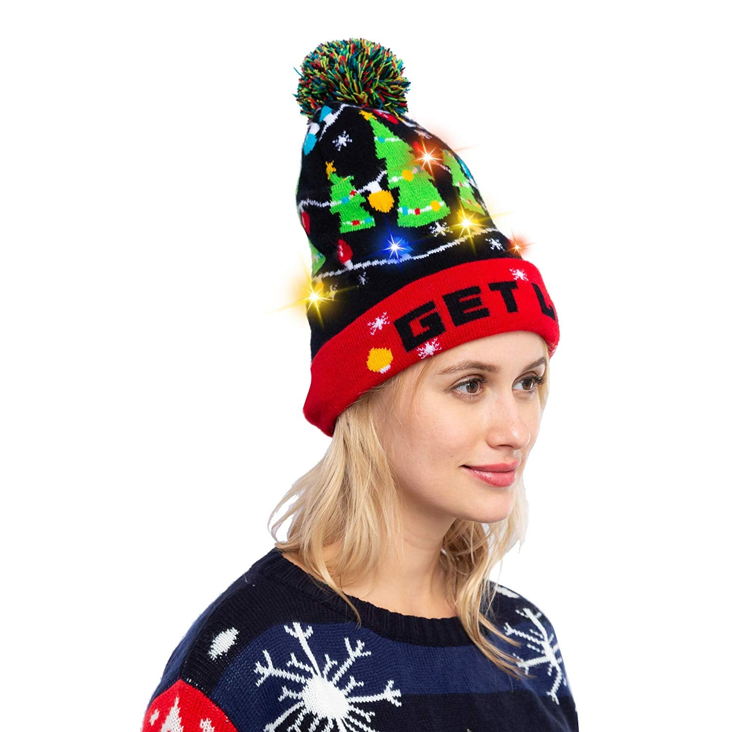 Christmas Tree Knitted Lit-up Beanie