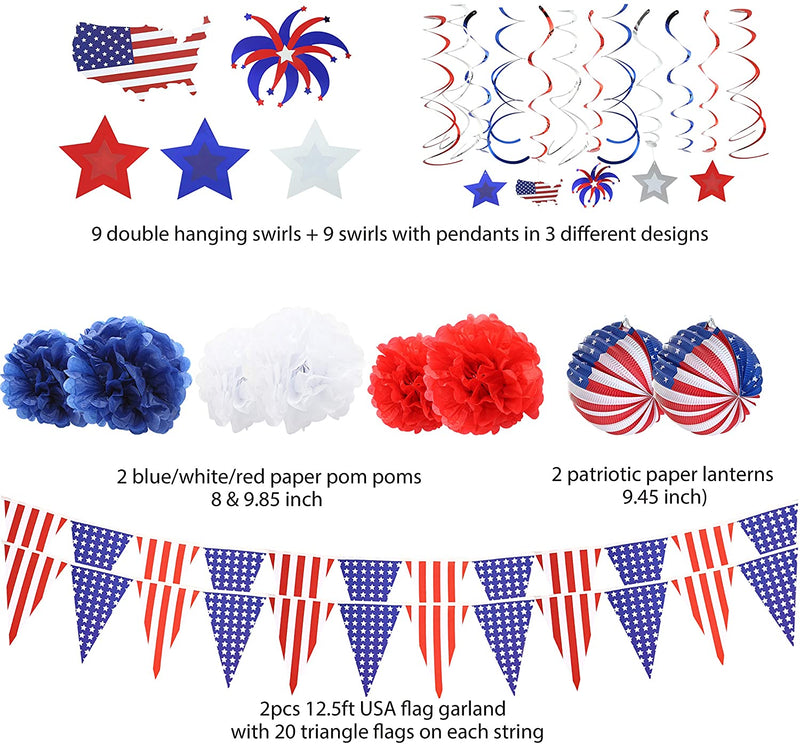 34 Pcs Patriotic Party Supplies