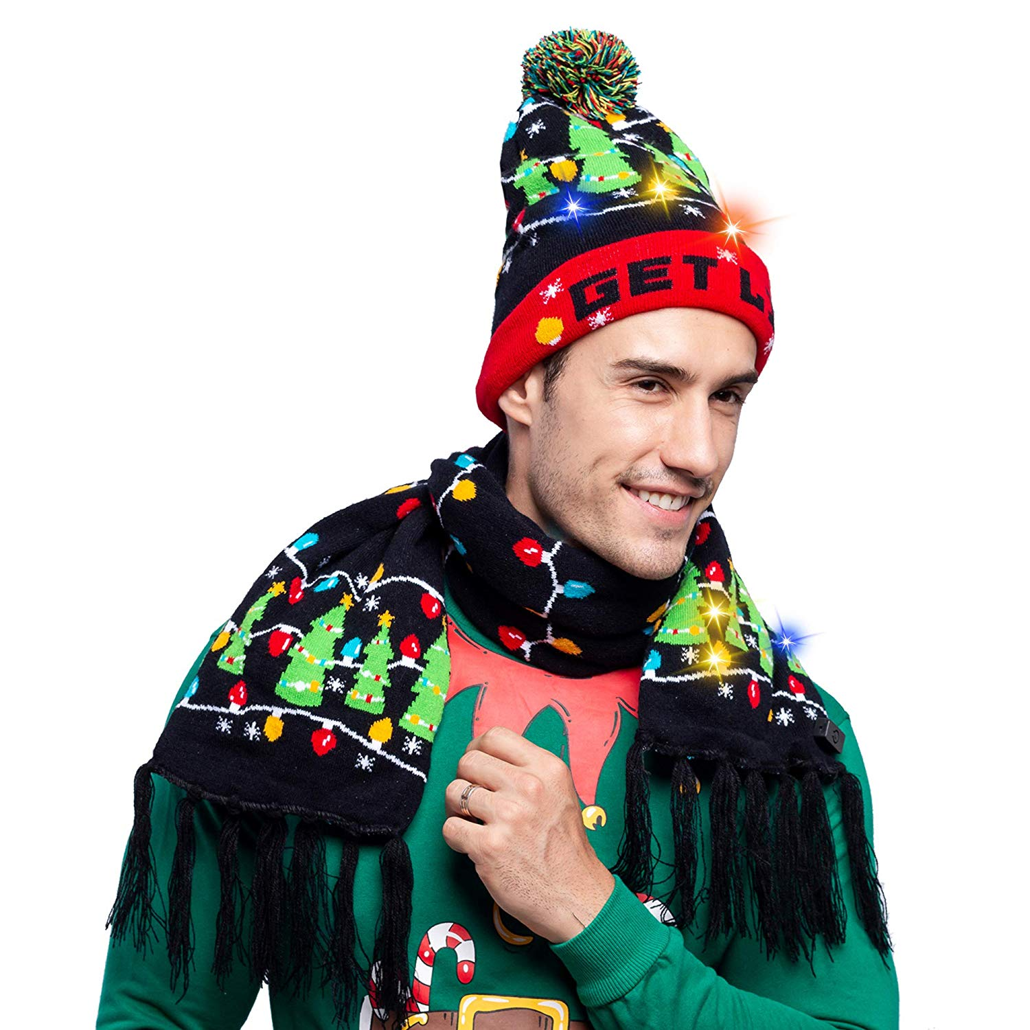 2 Piece Christmas Tree Lit-up Beanie and Scarf