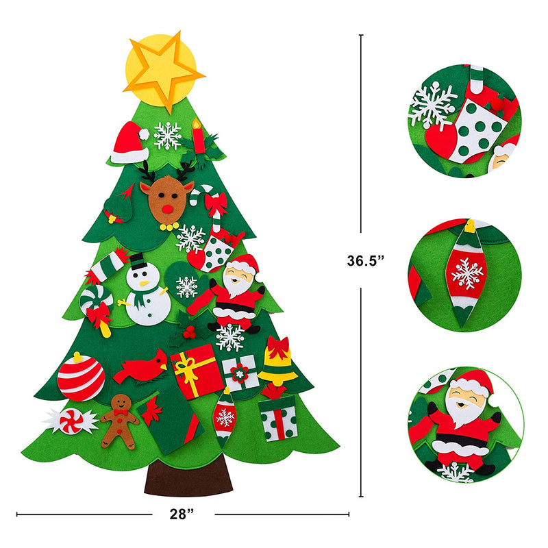 DIY Felt Wall Christmas Tree with 26 Piece Hanging Ornaments