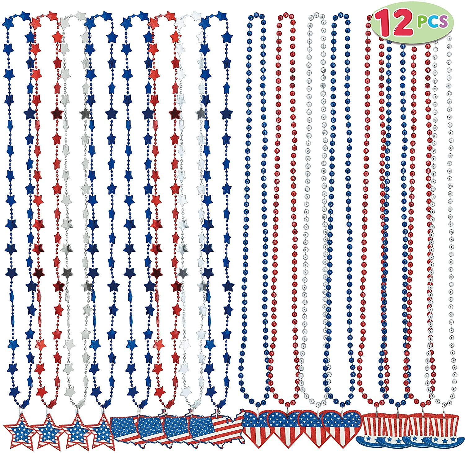 12 Piece Patriotic Necklaces with Pendant