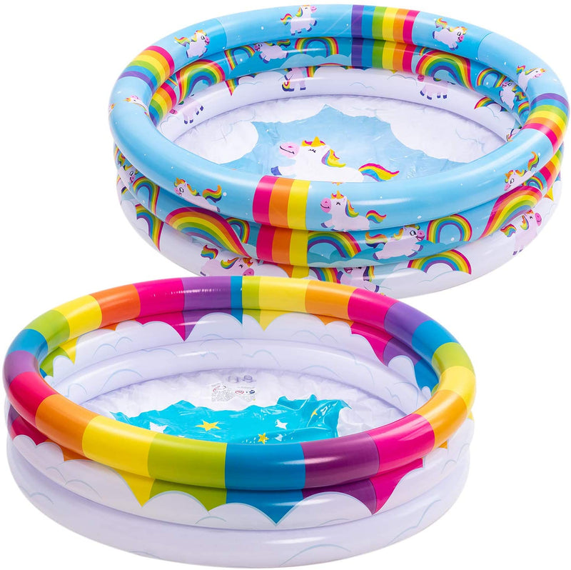 3 Ring Rainbow Unicorn Inflatable Kiddie Pool