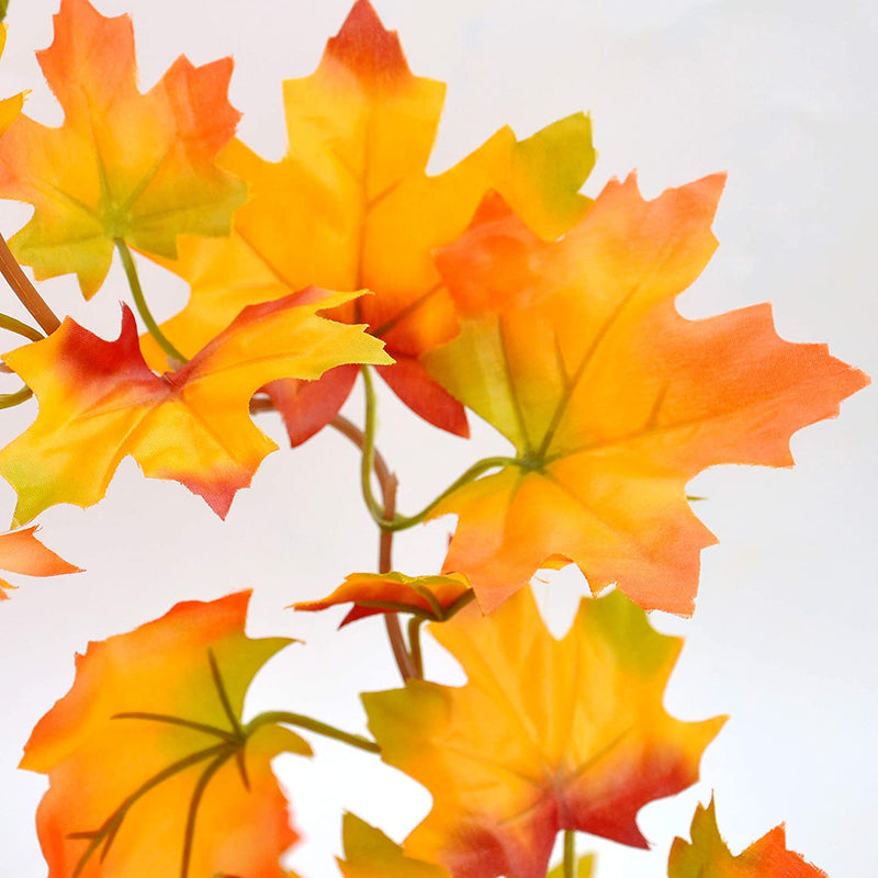 Artificial Fall Red Orange Maple Leaves Garland