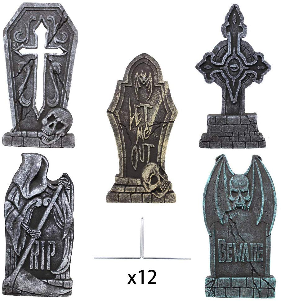 "Halloween 17"" Foam Tombstone (cross) with 12 Stakes"