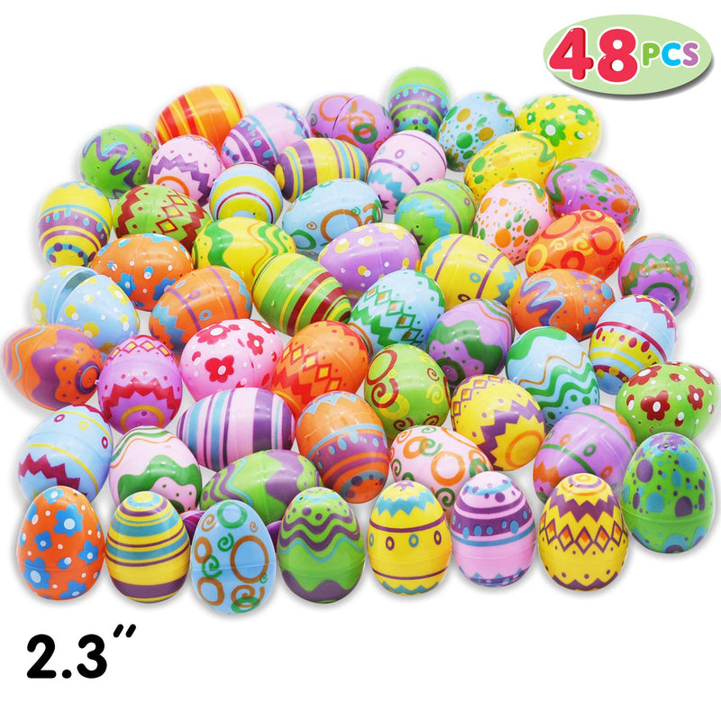 48 Pcs Plastic Printed Bright Easter Eggs