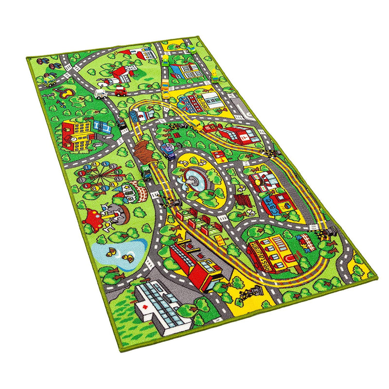 Carpet Playmat w/ 12 Cars Pull-Back Vehicle Set