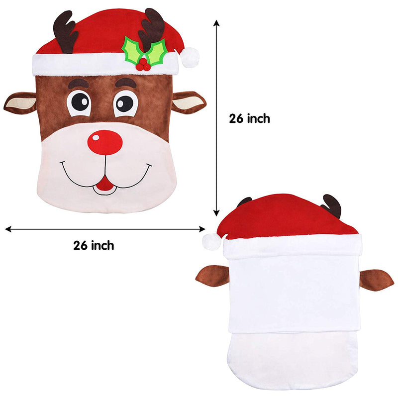 Santa and Reindeer Dining Chair Slip Covers