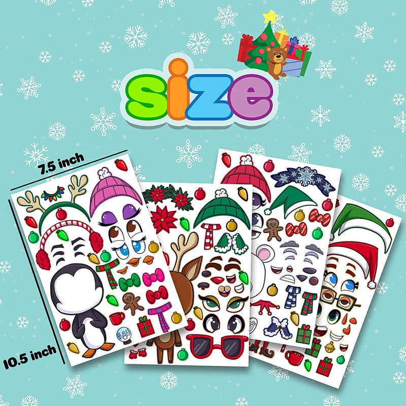 36 Piece Make-a-face Sticker Sheets Christmas Characters