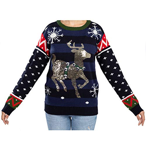 Women's Ugly Christmas Sweater Cute Shining Reindeer