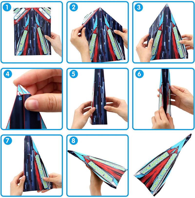28 Pack Paper Planes with Parachute Toy Set for Kids