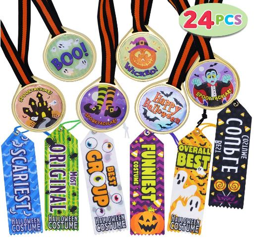 24 Pieces Halloween Medal Trophies and Trophy Ribbons