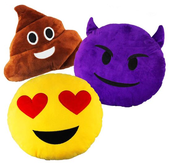3 PACK OF 32CM 13 INCHES EMOJI SMILEY EMOTION CUSHION STUFFED PLUSH PILLOW