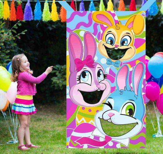 Easter-Themed Bunnies Family Toss Game with 4 Carrot Design Bean Bags