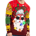 Men's Santa Ugly Sweater with Built in Light Bulb