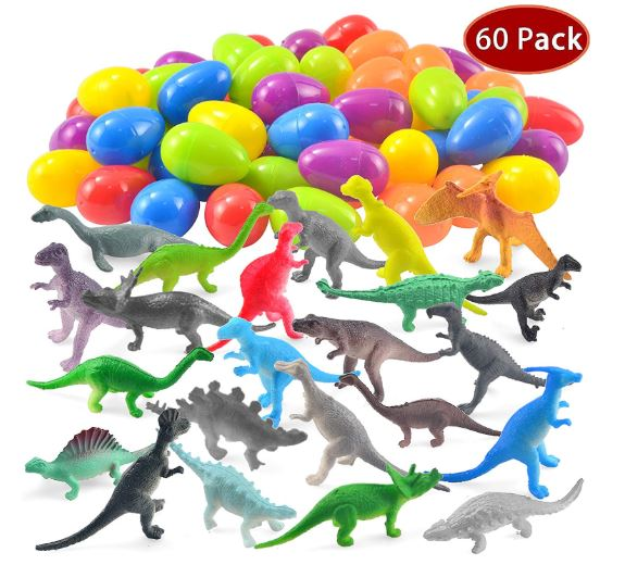 60 Pack Easter Eggs with Prefilled Dinosaur Toys Easter Basket Stuffers
