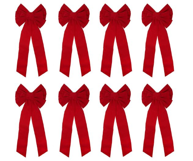 "8 Pack Red Velvet Bows, 16"" Long 9"" Wide 6 Loop Christmas Bows"