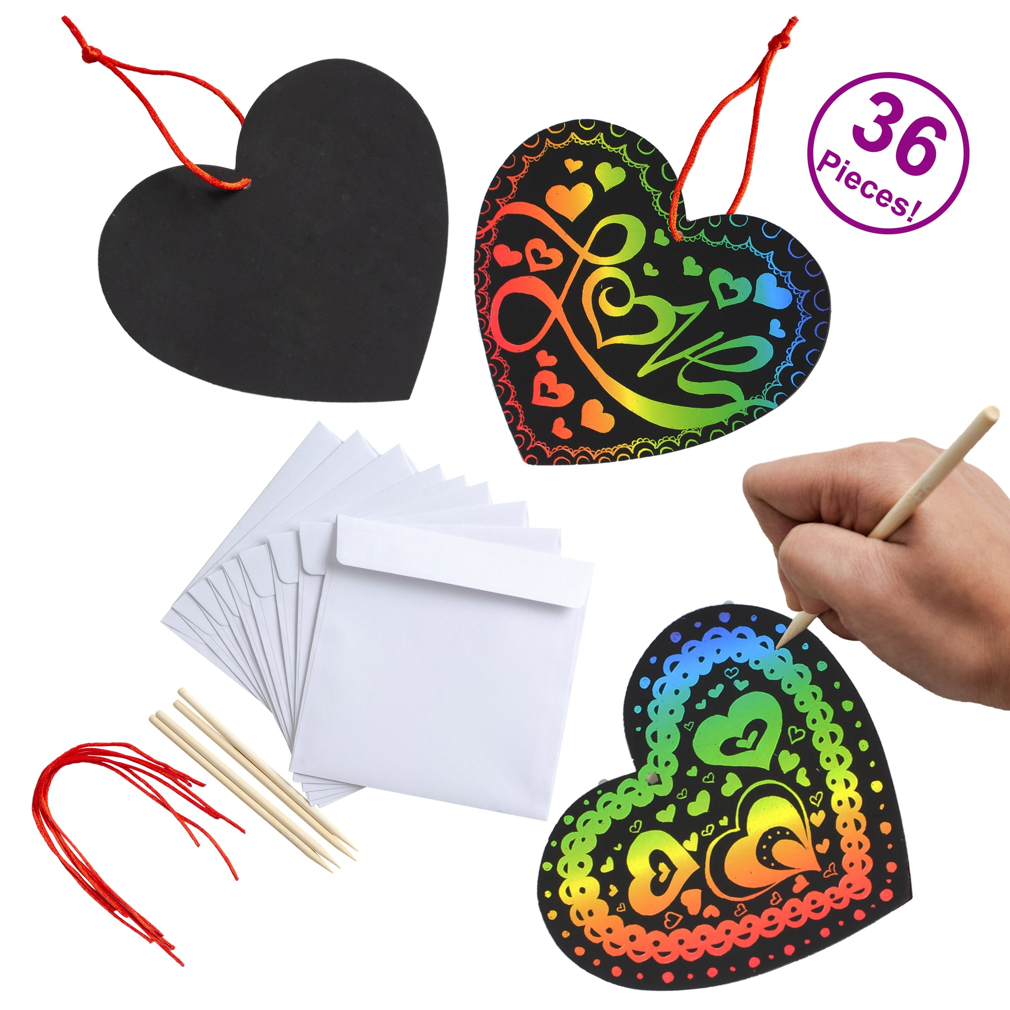 Valentines Day Gifts Cards for Kids Magic Color Scratch Heart 36 Packs