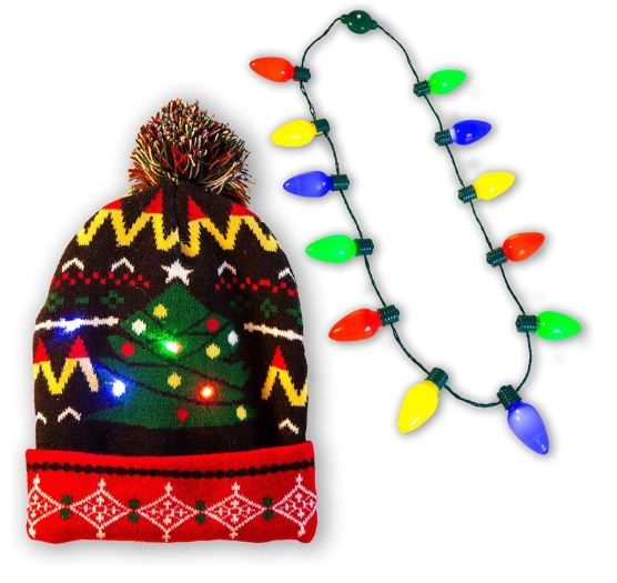 HOLIDAY LED LIGHT-UP BULB NECKLACE (12 BULBS)