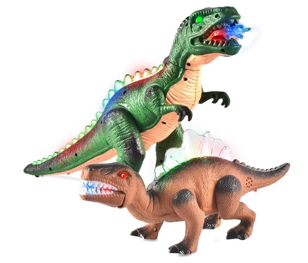 2 Pack Led Light Up T-Rex Walking Realistic Dinosaur Toy