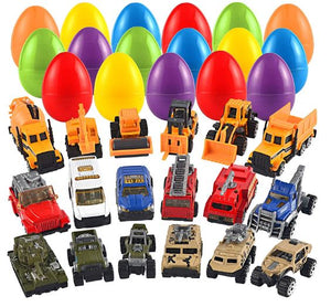 18 Packs Jumbo Easter Eggs with Prefilled Die-cast Vehicles Easter Basket Stuffers Easter Party Favors for Kids