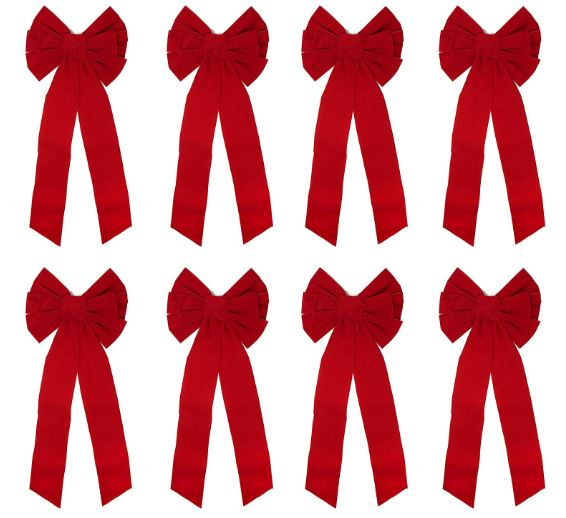 "8 Pack Red Velvet Bows, 26"" Long 10"" Wide 9 Loop Christmas Bows"