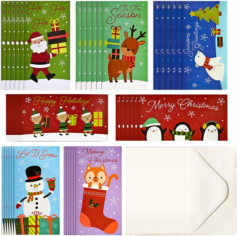 42 Pcs Cute Cartoon Christmas Greeting Cards