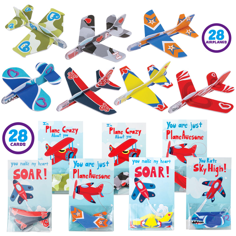 28 PACK VALENTINES GIFTS CARDS WITH FOAM AIRPLANES