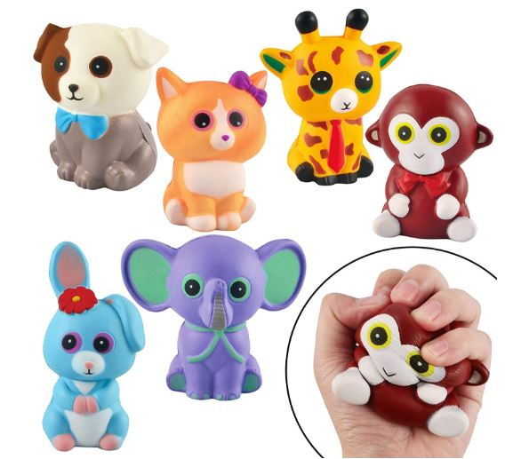 6 PACK JUMBO STRESS RELIEF SQUISHY ANIMAL TOY