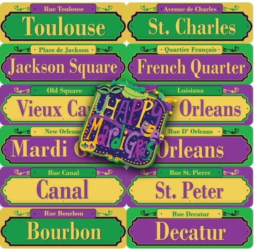 13-Count Mardi Gras PVC Street Road Signs and Cutout Party Decor Set