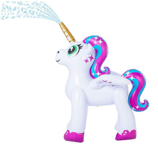 Inflatable Unicorn Yard Sprinkler, Alicorn/ Pegasus Lawn Sprinkler for Kids (5.3 Feet)