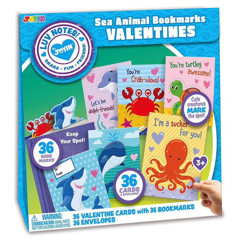 Valentine Gift Cards with Sea Animal Bookmarks