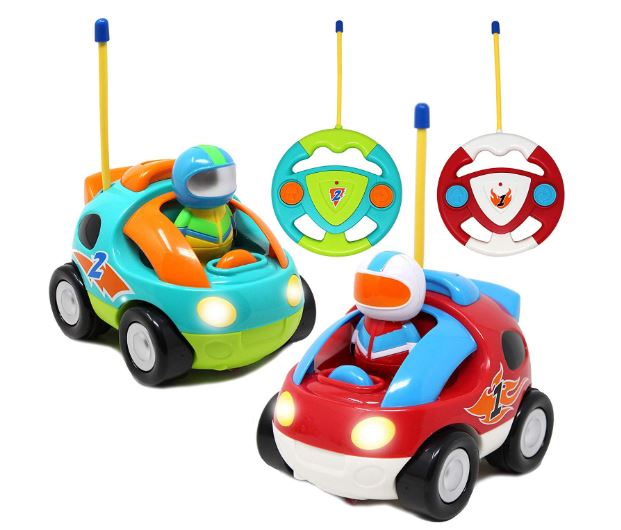 2 Pack Cartoon RC Race Car Radio Remote Control with Music & Sound Toy
