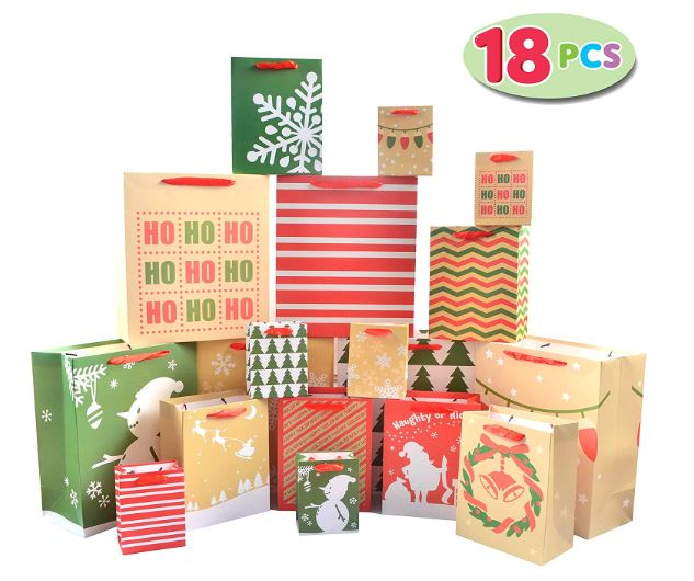 18 Pack Christmas Premium Holiday Gift Bags Assorted Creamy Kraft Style Prints