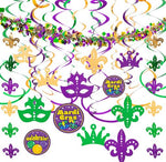 Assorted Mardi Gras-themed 24 Hanging Swirls and Strings
