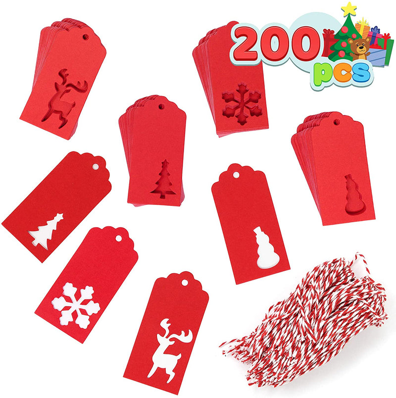 200 Pcs Assorted Kraft Paper Gift Tags Red Color