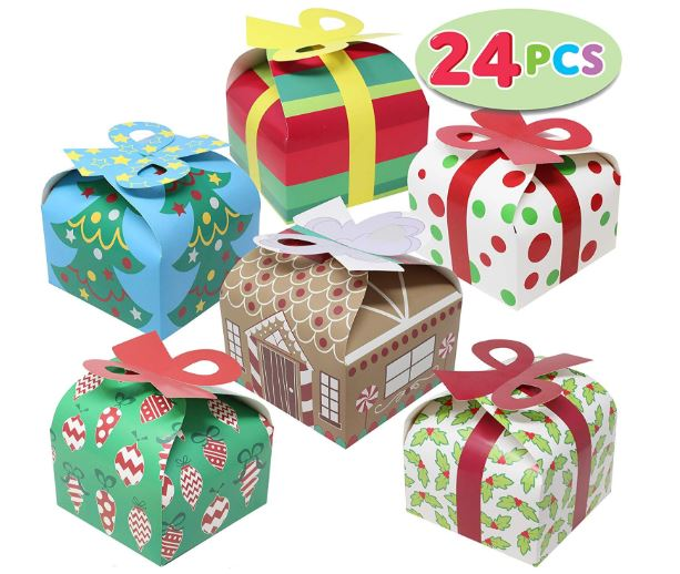 3D Christmas Goody Gift Boxes With Bow, 24 Pcs