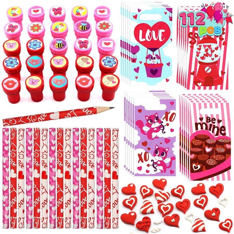 28 Pcs Valentines Day School Gifts Stationery Set for Kids