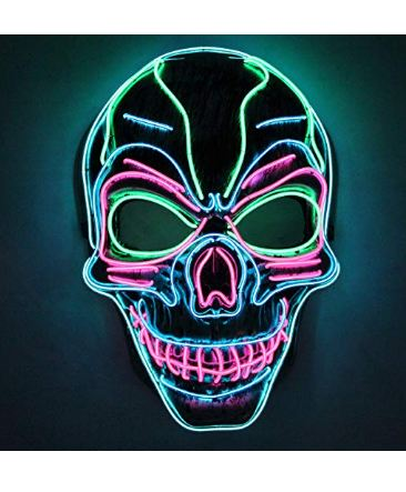 Halloween Cosplay LED Mask Light Up Scary Skull Mask