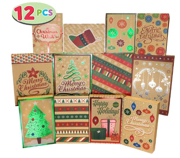 12 Christmas Foil Kraft Gift Boxes with 3 Sizes (Robe, Shirt and Lingerie Boxes)