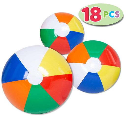 Rainbow Beach Balls (18 Pack), Combo Set
