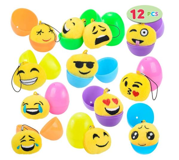"12 PCs Filled Easter Eggs with Plush Emoji, 2.25"" Bright Colorful Easter Eggs"