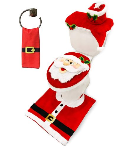 5 Pieces Christmas Santa Theme Bathroom Decoration Set